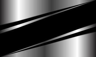Abstract black banner line slash on silver triangle geometric design modern luxury futuristic background vector illustration.