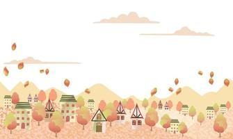 Seamless Hilly Landscape With A Peaceful Village And Text Space. Horizontally Repeatable. vector
