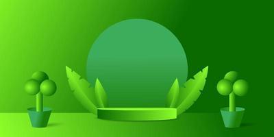 3d cylinder podium nature green background design