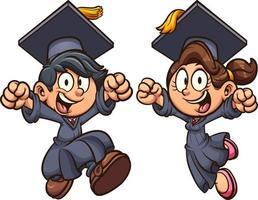 Graduating jumping kids vector