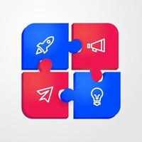 3d puzzle infographic design vector