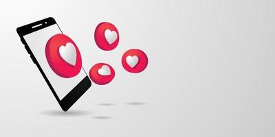 3d banner mobile phone with like social media design vector