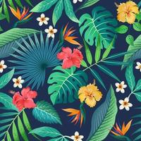 Seamless pattern with beautiful tropical flowers and leaves exotic background. vector