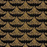 Luxury batik pattern design template on black background vector