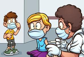 Cartoon kids getting vaccinated
