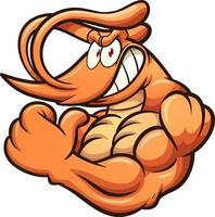 camarones fuertes de dibujos animados vector