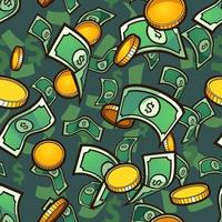 Seamless money background vector