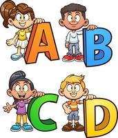 Abc cartoon kids vector