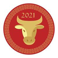 red tan 2021 year of the ox chinese new year circle graphic vector