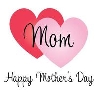 Happy Mothers Day overlapping hearts graphic vector