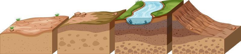 capas de suelo con río superior vector
