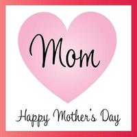 Happy Mothers Day pink gradient heart graphic vector