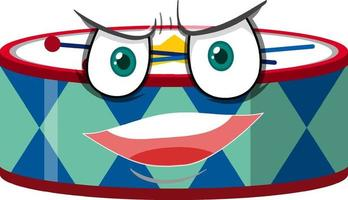personaje de dibujos animados de tambor con expresión facial vector