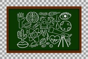 Different doodle strokes about science equipment on chalk board vector