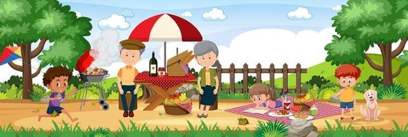 Picnic outdoor scene with happy family vector