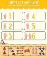 contar cortar y pegar la hoja de cálculo de matemáticas para niños vector