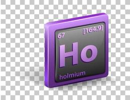 Holmium chemical element. Chemical symbol with atomic number and atomic mass. vector