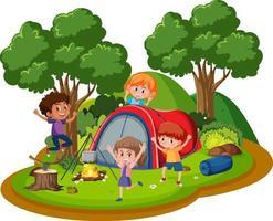 niños felices acampando en el bosque vector