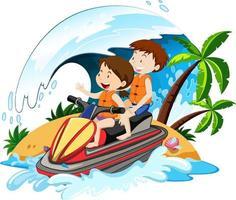 niños conduciendo una moto de agua con elementos de playa. vector