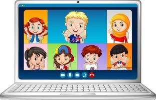 Student video chat online screen on laptop on white background vector