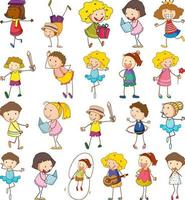 Set of different doodle kids cartoon character vector
