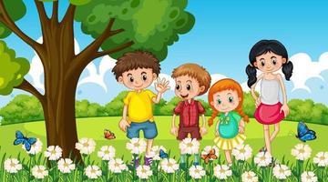 Many children standing in the flower garden vector