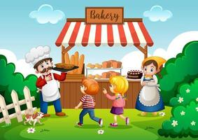Front of bakery shop with baker in the park scene vector