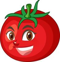 Personaje de dibujos animados de tomate con expresión de cara feliz sobre fondo blanco. vector