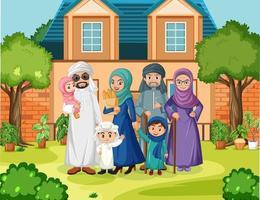 escena al aire libre con miembro de la familia árabe vector