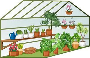 Vista abierta del invernadero con muchas plantas en el interior. vector