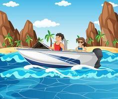 una pareja conduciendo una lancha rápida en la escena de la playa vector
