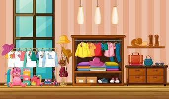 Children clothes hanging in wardrobe with many accessories in the room scene vector