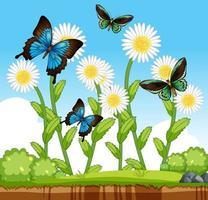muchas mariposas con muchas flores en la escena del jardín vector