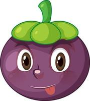 Mangosteen cartoon character with facial expression