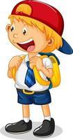 un personaje de dibujos animados de niño estudiante aislado sobre fondo blanco vector