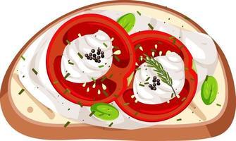 Vista superior de un pan con cobertura de tomate vector