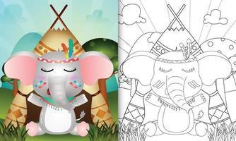 Plantilla de libro para colorear para niños con una linda ilustración de personaje de elefante boho tribal vector