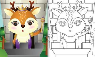 Coloring book template for kids with a cute king deer character illustration vector