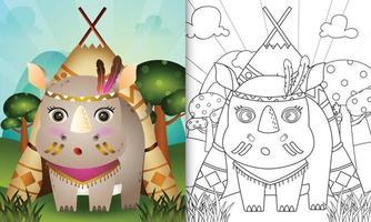 Plantilla de libro para colorear para niños con una linda ilustración de personaje de rinoceronte boho tribal vector