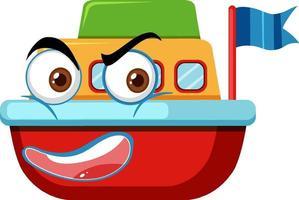 personaje de dibujos animados de juguete de barco con expresión facial vector