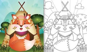 Coloring book template for kids with a cute tribal boho fox character illustration vector