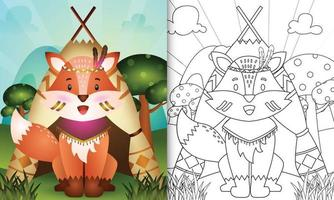 Plantilla de libro para colorear para niños con una linda ilustración de personaje de zorro boho tribal vector