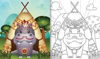 Plantilla de libro para colorear para niños con una linda ilustración de personaje de hipopótamo boho tribal vector