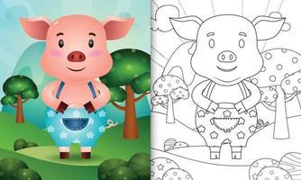 Plantilla de libro para colorear para niños con una linda ilustración de personaje de cerdo vector