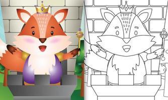 Plantilla de libro para colorear para niños con una linda ilustración de personaje de rey zorro vector