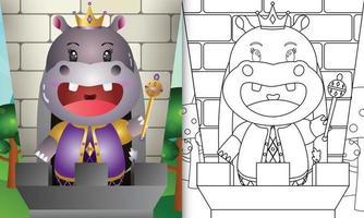 Plantilla de libro para colorear para niños con una linda ilustración de personaje de hipopótamo rey vector