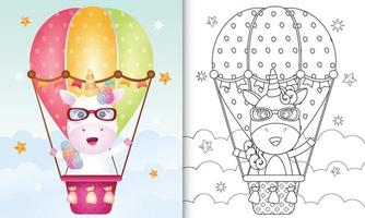 Coloring book template for kids with a cute unicorn on hot air balloon vector