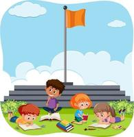 Happy kids playing outdoor background vector