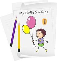 Sketch little kids cartoon character on paper isolated vector