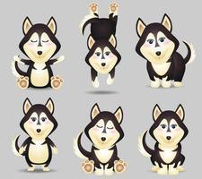 linda colección de perros husky en estilo infantil vector